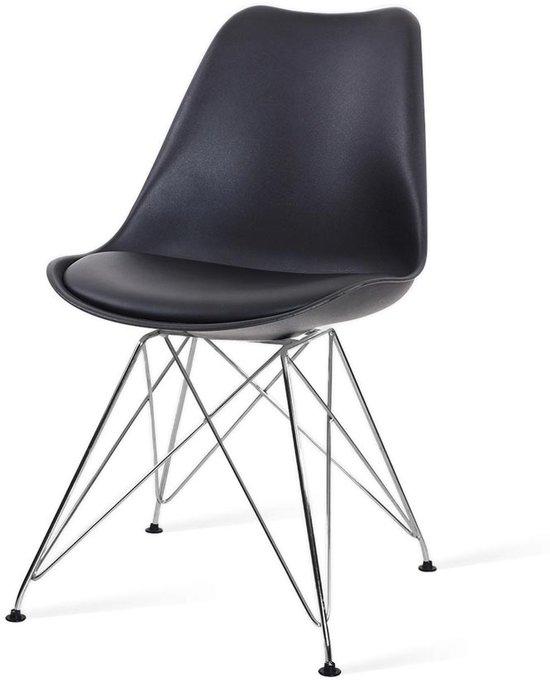 Essence Metal kuipstoel - Zwarte zitting - Chroom onderstel