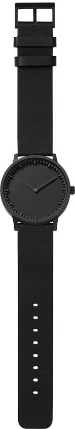 Tube watch T40 black / black leather strap