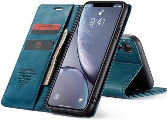 CASEME Retro Wallet Hoesje voor iPhone XR Blauw