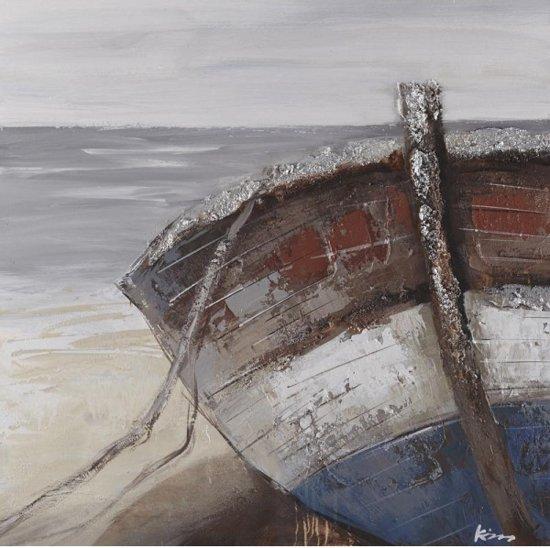 Schilderij zeezicht strand met boot 80x80 for Schilderij zeezicht