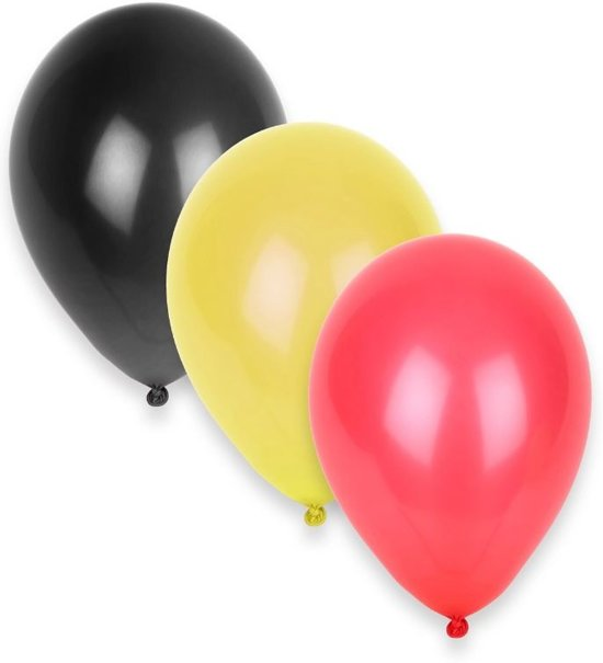 Amscan Ballonnen België Rood/zwart/geel 12 Stuks 28 Cm