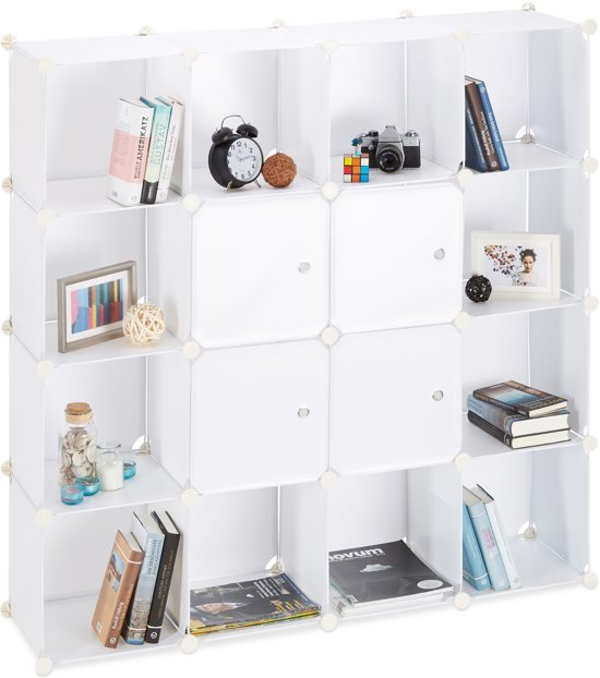 Relaxdays Vakkenkast 16 Vakken Kliksysteem Met Deuren Kunststof Roomdivider Kast Wit