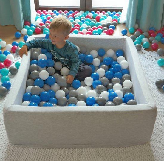 Ballenbak - stevige ballenbad - 90x90 cm - 450 ballen Ø 7 cm - wit, grijs, turquoise.
