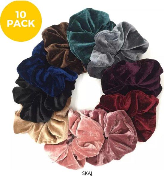 Afbeelding van By Davids Velvet Scrunchie Haaraccessoire - 10 stuks - diverse kleuren