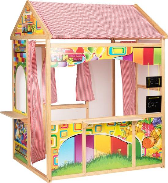 Houten speelhuis / school -  119x90 cm inclusief schoolbord / krijtbord