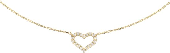 The Jewelry Collection Ketting Hart Zirkonia 0,8 mm 40 + 4 cm - Geelgoud