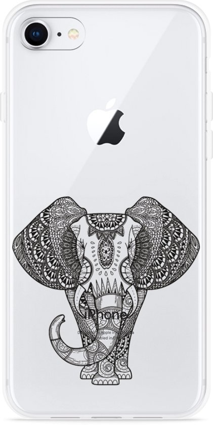 iPhone 8 Hoesje Elephant Mandala Black