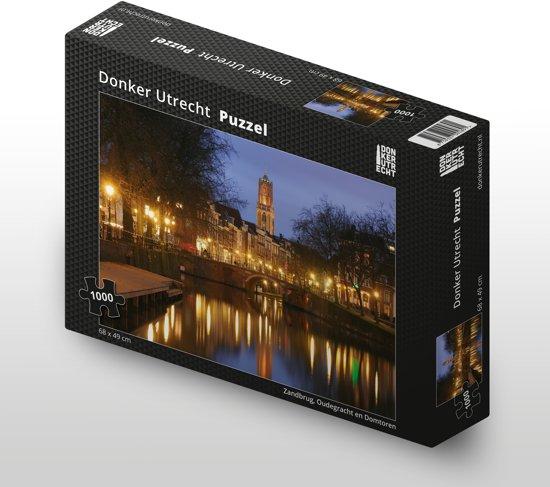 Donker Utrecht Puzzel - Zandbrug, Oudegracht en Domtoren - 1000 stukjes - 68 x 49 cm