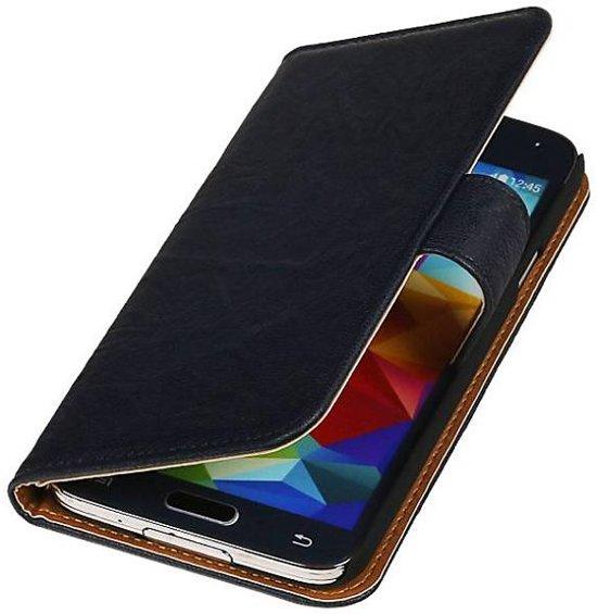 Mobieletelefoonhoesje.nl - Samsung Galaxy S5 Active Hoesje Washed Leer Bookstyle Donker Blauw in Obaix