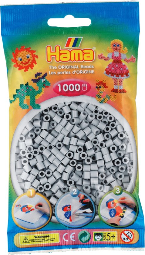 Strijkkralen Hama - 1000 stuks - Lichtgrijs