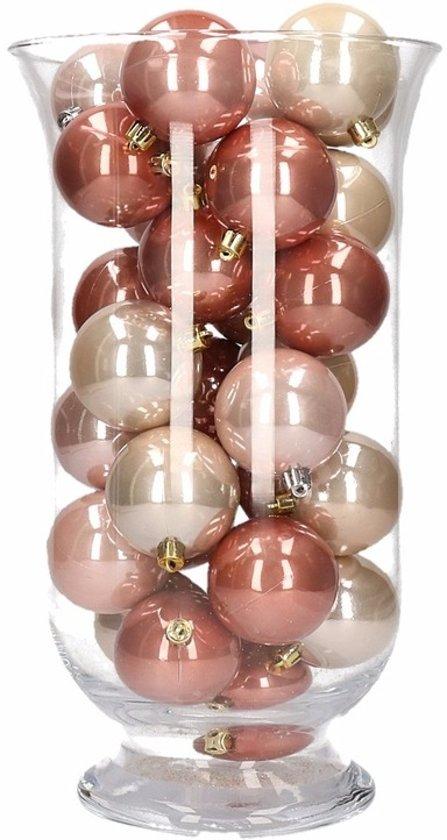 Woondecoratie roze mix kerstballen in vaas Valentinaa