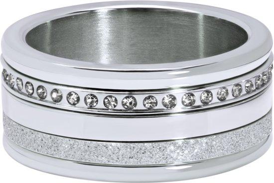 Quiges Dames Stapelring Set RVS Zirkonia Zilverkleurig - Maat 20 - Hoogte 6mm - SRS012S20