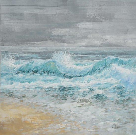 Schilderij golven branding 100x100 for Schilderij zeezicht