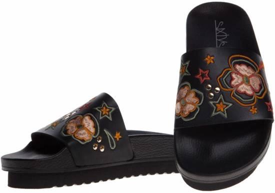 Dames slippers - maat 37 - zwart - geborduurd