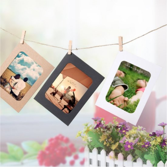 Fotoslinger/Fotolijn - 10 haakjes + 10 Frames voor fotolijst - ruimte voor 10 foto's