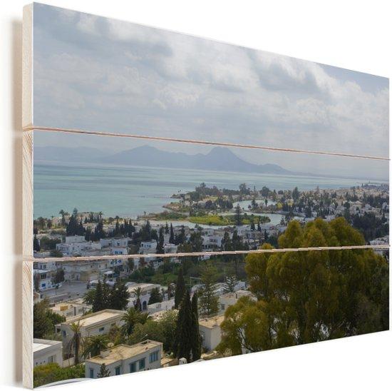 De Afrikaanse handelsstad Carthago met uitzicht over zee en bergen in Tunesië Vurenhout met planken 30x20 cm - klein - Foto print op Hout (Wanddecoratie)