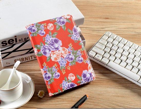 H.K. Draaibaar/Boekhoesje hoesje rood met paarse bloemen geschikt voor Apple Ipad AIR/AIR2/2017/2018 + Glasfolie