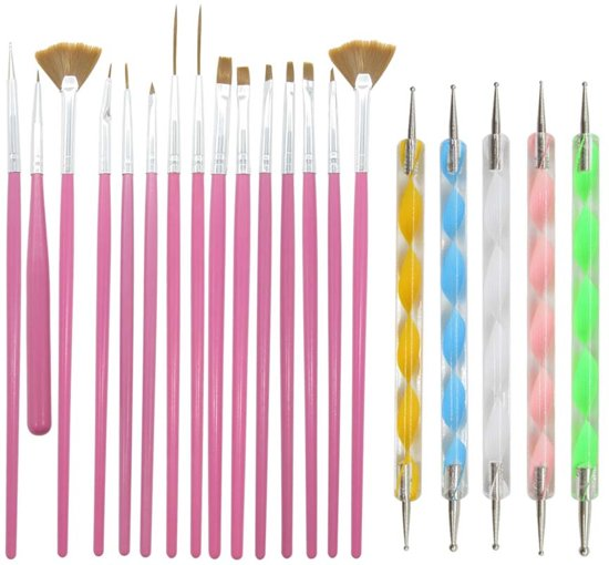 Evvie 20 delige nail art set - 15 nailart penselen en 5 dotting tools - Roze