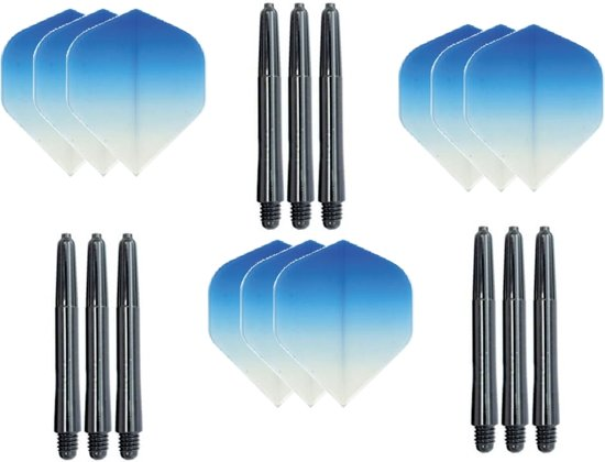 3 sets (9 stuks) Super Sterke - Dragon darts  - Fade Top Blauw - darts flights - plus 9 extra zwarte - darts shafts
