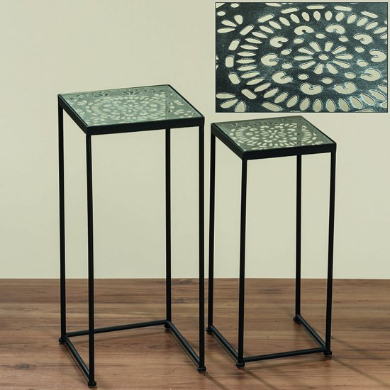 Tafel Hoogte 60 Cm.Bol Com Tafel 2 Set Zwart Glasplaat 70 Cm 60 Cm