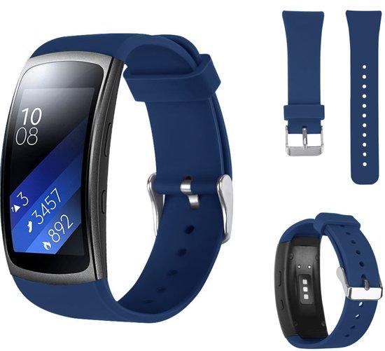 Siliconen Horloge Band Voor Samsung Gear Fit 2 Pro Armband / Polsband / Strap Bandje / Sportband - Marine Blauw