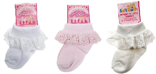 SOFT TOUCH - 3-pack Sokjes met Broderie (0-3 mnd)