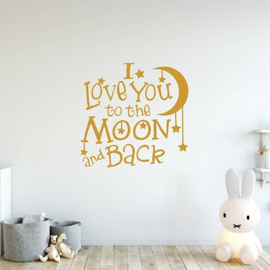 Muursticker I Love You To The Moon And Back -  Goud -  120 x 120 cm  - Muursticker4Sale