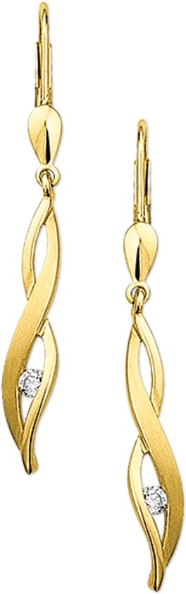 The Jewelry Collection Oorhangers Zirkonia Poli/mat - Geelgoud