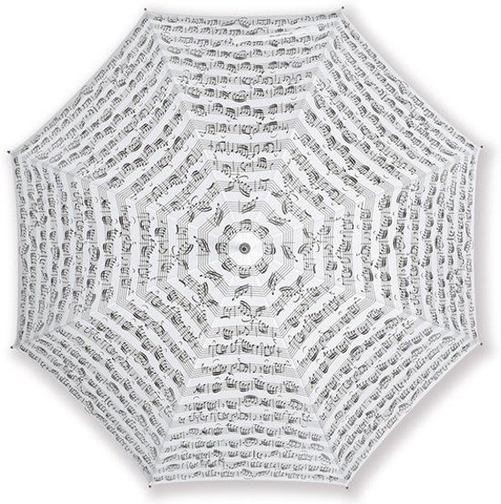 Paraplu Bladmuziek Wit met zwarte opdruk