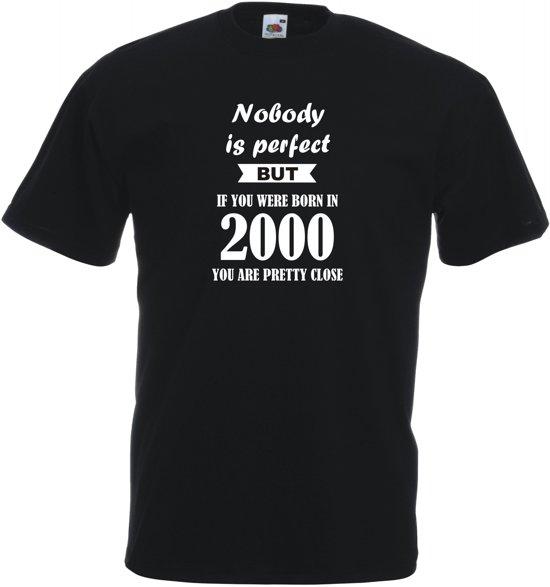 Mijncadeautje - Unisex T-shirt - Nobody is perfect - geboortejaar 2000 - zwart - maat XXL