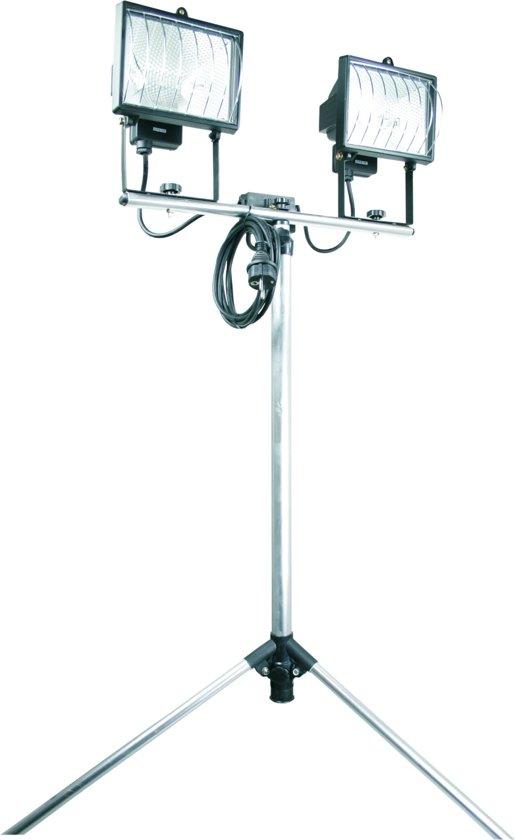 Smartwares TL800A Bouwlamp – Met statief -  Dubbele lampen – 2 x 400 W - Verstelbaar van 1,05 tot 1,95 meter – Geschikt voor buitengebruik