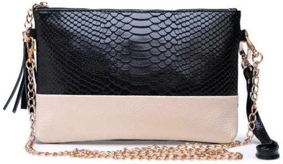 Lederen Crocodile Clutch | Krokodillenprint Black-Zwart | 20,5 x 13,5 cm | Fashion Favorite