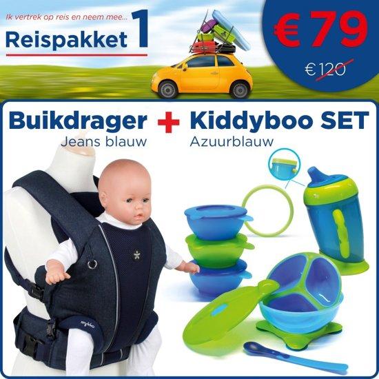 REISPAKKET 1 : Buikdrager - jeans blauw + Kiddyboo SET - azuurblauw