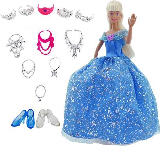 Blauwe prinsessenjurk met accessoires voor barbiepop - jurk, kroon, ketting, schoenen voor barbie prinses