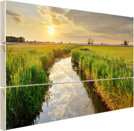 Kreek bij zonsondergang Hout 120x80 cm - Foto print op Hout (Wanddecoratie)