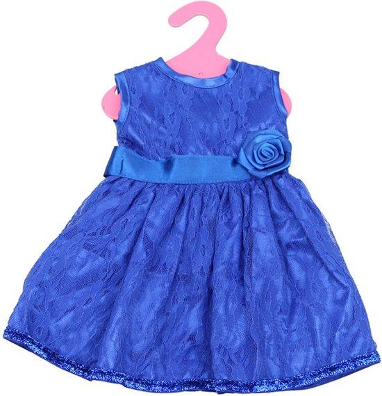 1ef194c0cb9c4c Blauw jurkje met kant voor babypop zoals baby born - Poppenkleertjes -  galajurk voor pop
