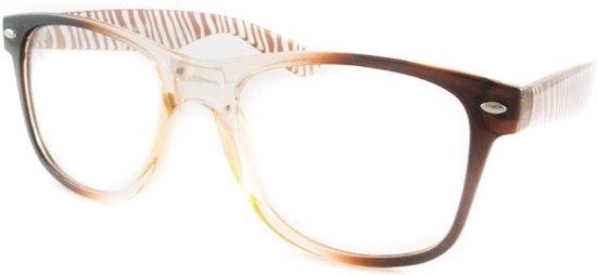 63517f6ab40fa6 Wayfarer nerd bril zonder sterkte bruin met zebra poten