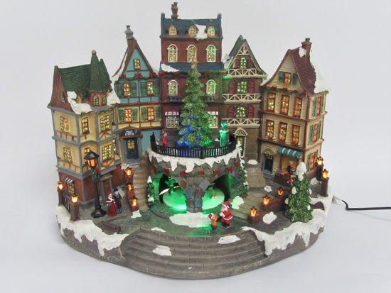 Kerstdorp - Kersthuisjes - Bewegend Kersttafereel - City Hall - Verlichting - Muziek