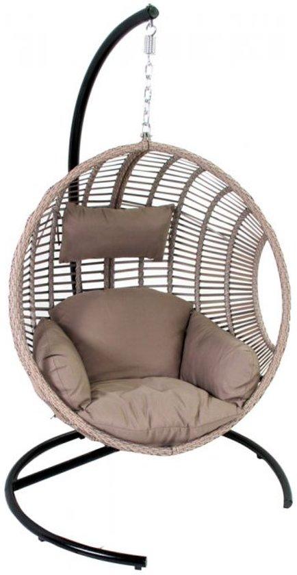 bol com 24designs relax hangstoel ibiza 1 persoons egg chair24designs relax hangstoel ibiza 1 persoons egg chair zand vlechtwerk taupe kussens