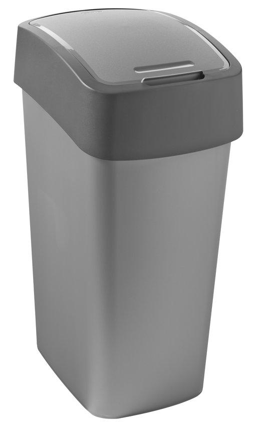 Curver Flip Bin Prullenbak - 50 l - Zilver/Antraciet