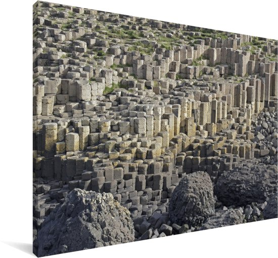 Duidelijke foto van heel veel stenen van de Giants Causeway Canvas 180x120 cm - Foto print op Canvas schilderij (Wanddecoratie woonkamer / slaapkamer) XXL / Groot formaat!