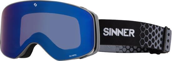 Sinner Olympia Unisex Skibril - Grijs - Blauwe Spiegellens
