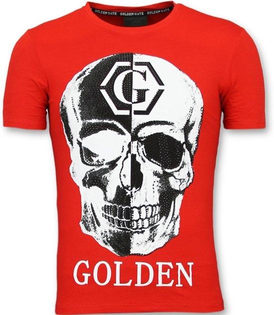 0d088050907b41 Golden Gate Tshirt with Skull Print - Doodskop T shirts Heren - Rood -  Maten