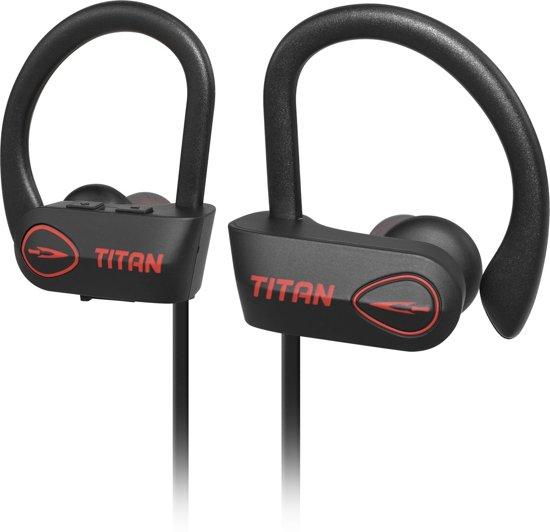 EarHackz® Titan - Draadloze In-ear Bluetooth Sport Oordopjes - Wireless Headset Koptelefoon - Voor hardlopen of fitness - Zwart/rood
