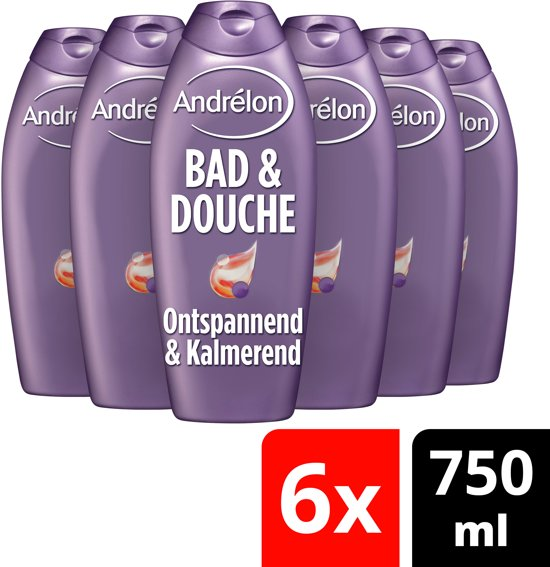 Andrélon Ontspannend & Kalmerend - 6 x 750 ml - Bad & Douche - Voordeelverpakking