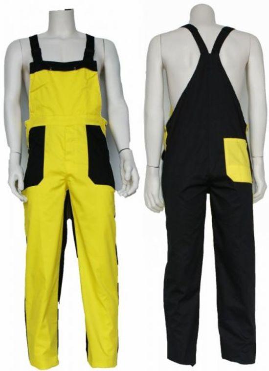 Yoworkwear Tuinbroek polyester/katoen geel-zwart maat 128