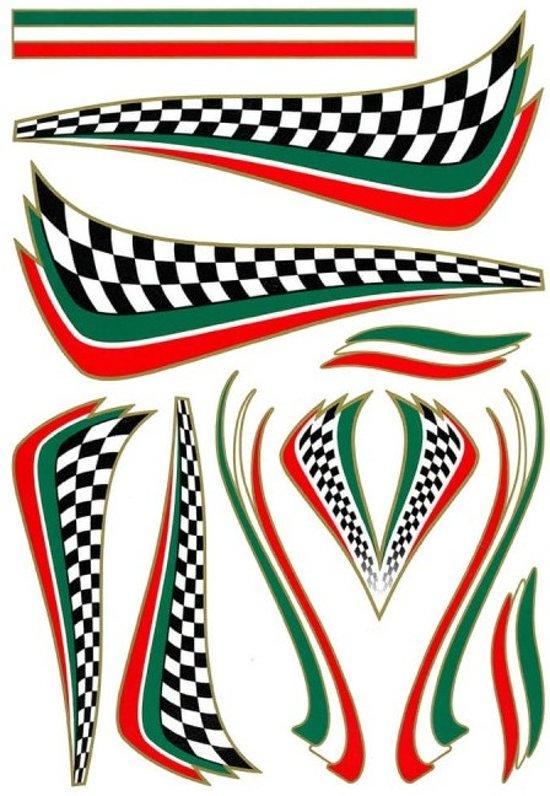 Tom Fietsstickers Italian Checker Groen/wit/rood