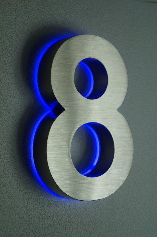 bol.com | Huisnummer met LED verlichting van RVS | Hoogte 20cm Nummer 8