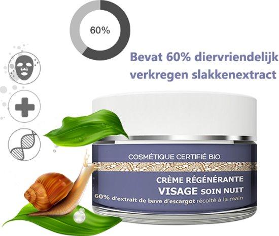 Herstellende Regeneratieve Anti-Age Slakken Nachtcrème 50ml, Met 60% Slakkenextract, Vitamine E, Zeewierextract en Distelolie - 99% Natuurlijke Gecertificeerde Ingrediënten