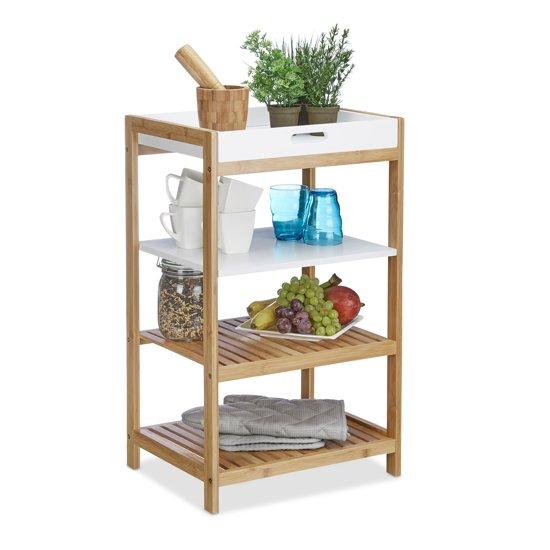 Fabulous bol.com   relaxdays - bamboe keukenrek met wit dienblad - badkamer XU49